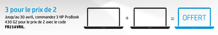 Jusqu'au 30 avril, commandez 3 HP ProBook 430 G2 pour le prix de 2 avec le code FR23AVRIL. Offre non cumulable avec d'autres réductions et dans la limite des stocks disponibles